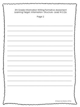 5th Grade Common Core Information Writing Formative Assessment Pack