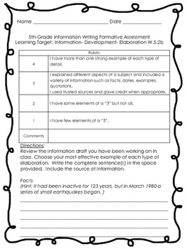 5th Grade Common Core Information Writing Formative Assessment Sample