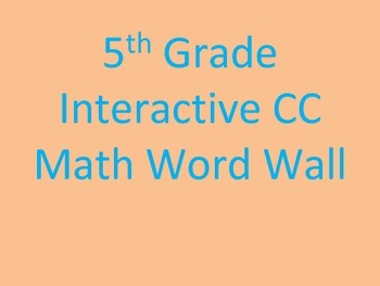 5th Grade Common Core Interactive Math Word Wall