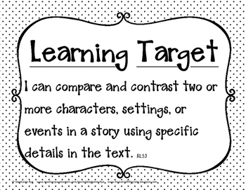 5th Grade Common Core Language Arts Learning Target Posters (Black & White)