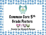 5th Grade Common Core Language Arts Posters - Owl Theme I Can Statements