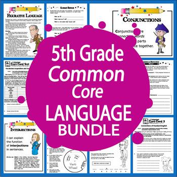 5th Grade LANGUAGE Bundle (12 Lesson Grammar Unit, Daily Practice, Task Cards)