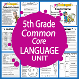 5th Grade LANGUAGE Unit–Posters, Grammar Task Cards, 5th Grade Grammar Lessons