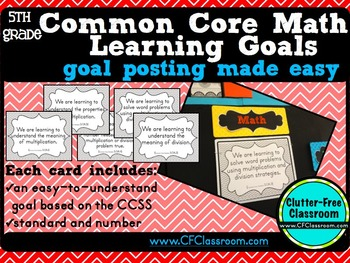 5th Grade Common Core Learning Goals {Posters, Targets, Objectives}