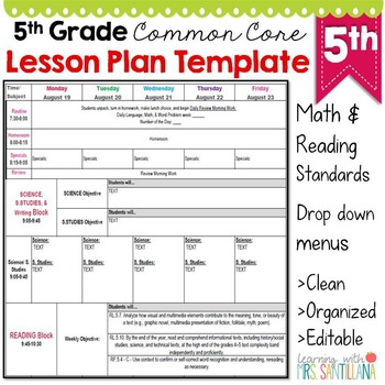 5Th Grade Common Core Lesson Plan Template By Math Tech Connections