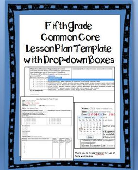 5th Grade Common Core Lesson Plan Template with Drop-down Boxes