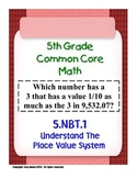 5th Grade Common Core Math 5 NBT.1 Understand The Place Value System 5.NBT.1 PDF