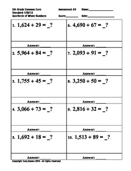 5th Grade Common Core Math 5 NBT.6 Find Quotients of Whole Numbers 5.NBT.6 PDF