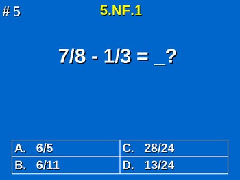 5th Grade Common Core Math 5 NF.1 Add & Subtract Fractions 5.NF.1