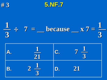 5th Grade Common Core Math 5 NF.7 Divide Unit Fractions by Whole Numbers 5.NF.7