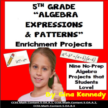 5th Grade Algebra and Patterns Math Enrichment Projects, Plus Vocabulary