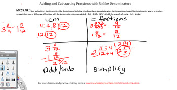 Adding and subtracting fractions with unlike denominators worksheets common core