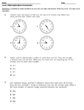 Special Education 5th Grade Common Core Math Word Problems Probe