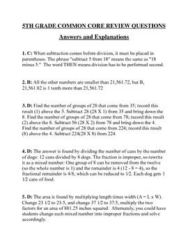 5th Grade Common Core Math Assessment: Ten Question Pre-Test With Answers