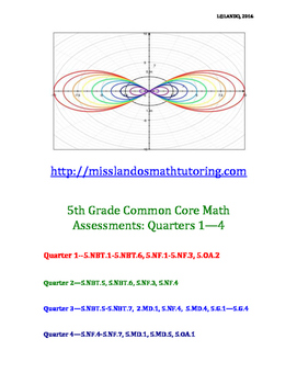 5th Grade Common Core Math Assessments: Quarters 1-4 [ANSWER KEYS INCLUDED]