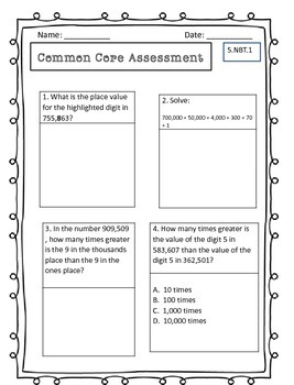 5th Grade Common Core Math Assessments & Student Data Collection