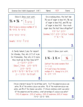 5th Grade Common Core Math Assessments for Standards Based Report Cards