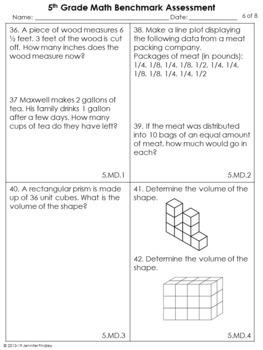 5th Grade Common Core Math Benchmarkessment All Standards