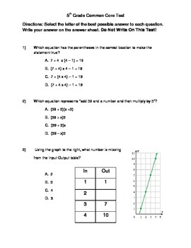 It's just a picture of Lively 5th Grade Math Assessment Test Printable