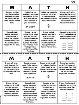 5th Grade Common Core Math Choice Boards {Fractions}