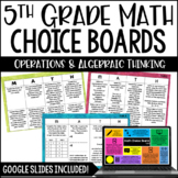 5th Grade Common Core Math Choice Boards {Operations and A