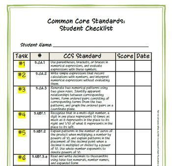 5th Grade Common Core Math:  Constructed Response Portfolio Assessment