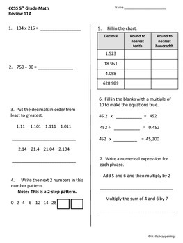 5th Grade Common Core Math Daily Review Weeks 11-15