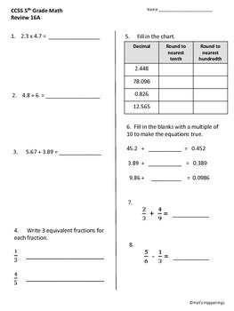 5th Grade Common Core Math Daily Review Weeks 16-20