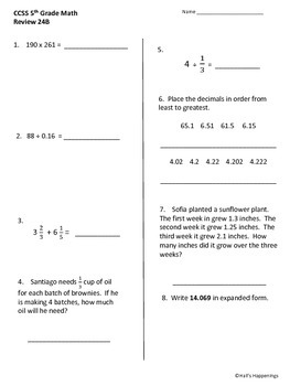 5th Grade Common Core Math Daily Review Weeks 21-25