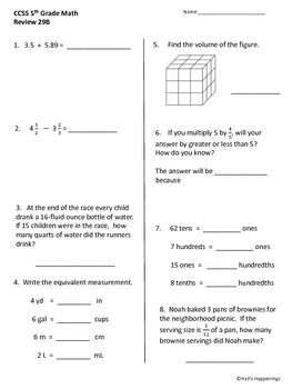 5th Grade Common Core Math Daily Review Weeks 26-30