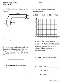 5th Grade Common Core Math Daily Review Weeks 31-35