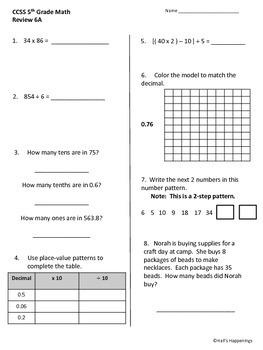 5th Grade Common Core Math Daily Review Weeks 6-10