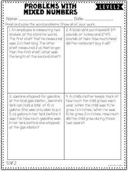 Fractions: 5th Grade Common Core Math Differentiated Skill Sheets