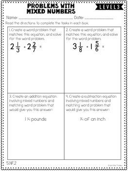 Fractions: 5th Grade Common Core Math Differentiated Skill ...