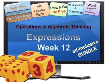 Week 12 Expressions: Word Problems 5th Grade Common Core Math EDI Lessons