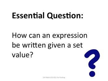 5th Grade Common Core Math Essential Questions for Posting