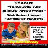 5th Grade Fractions and Operations Enrichment Projects, Plus Vocabulary
