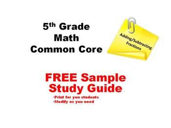 5th Grade Common Core Math -- FREE SAMPLE STUDY GUIDE