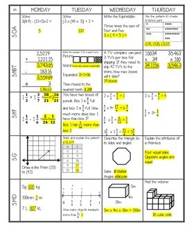 5th Grade Common Core Math Homework