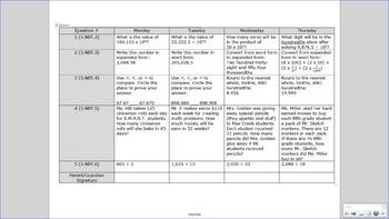5th Grade Common Core Math Homework [36 weeks, full year]