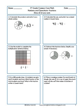 5th Grade Math Review or Homework Problems Fractions Test Prep