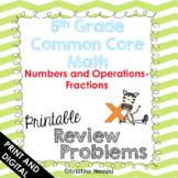 5th Grade Math Review or Homework Problems Fractions - Google Slides
