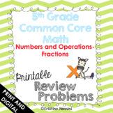 5th Grade Math Review or Homework Problems Fractions - Dis