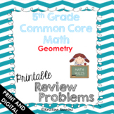 5th Grade Math Review or Homework Problems Geometry Test Prep