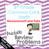 5th Grade Math Review or Homework Problems Measurement and Data MD Test Prep