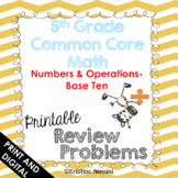 5th Grade Math Review Homework Problems Numbers and Operat