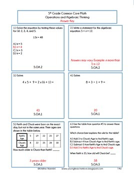 Order of operations homework 5th grade