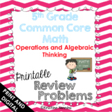 5th Grade Math Review or Homework Problems Operations and