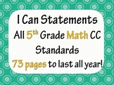 5th Grade Common Core Math I CAN statement posters (73 pages!) Polka Dot Theme