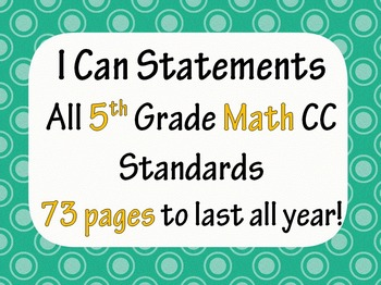 5th Grade Common Core Math I CAN statement posters (73 pag
